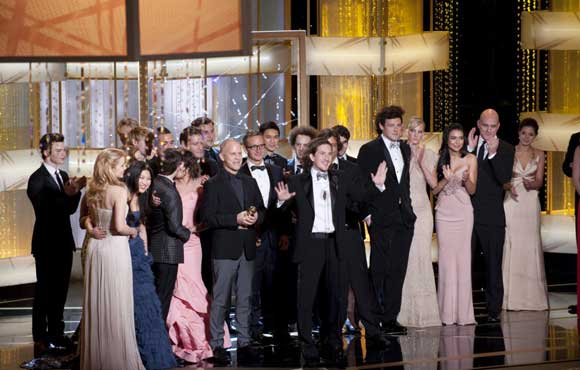 Glee-Golden-Globes. Colin Firth, winner of Best Performance by an Actor in a